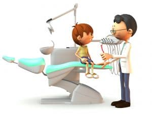 A young, smiling cartoon boy sitting on a dental chair. A dentist stands in front of him with a red toothbrush in his hand. White background.